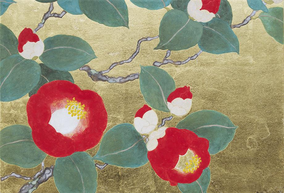 Ai Akino, Rote Kamelien gegen Ende des Frühlings I, 2016 japanische Pigmente, Tusche und Blattgold auf Papier, 15,8 x 22,7 cm.