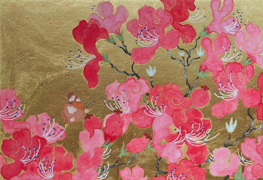 Ai Akino, Mountain Sprite, 2016, japanische Pigmente und Blattgold auf Papier, 15,8 x 22,7 cm.