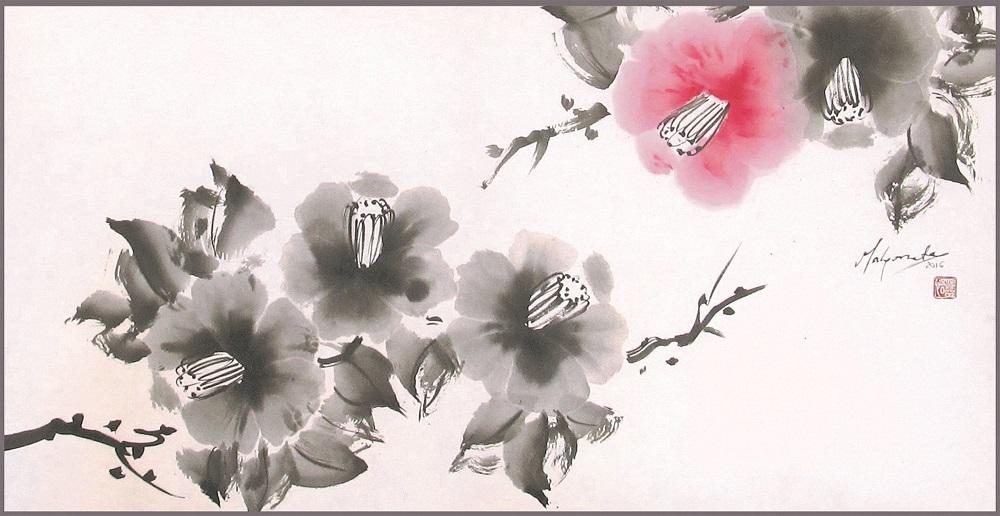Malgorzata Olejniczak, Kamelien, 2016, Hängerolle, Tusche und antike Farbe auf japanischem Papier, 34 x 64 cm, mit Seidenmontierung 86 x 73 cm (Ausschnitt)