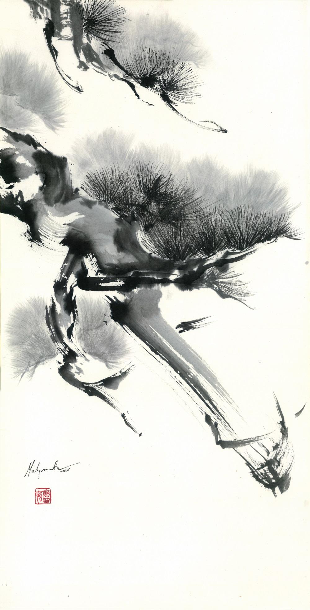 Malgorzata Olejniczak, Kiefer, 2016, Hängerolle, Tusche auf japanischem Papier, 66,5 x 33,5 cm, mit Seidenmontierung 119 x45 cm (Ausschnitt)